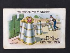 Vintage PC: Comic Artist Signed: Donald McGill #A409: Coming Home With the Milk