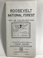 1955 ROOSEVELT NATIONAL FOREST WYOMING ROCKY MOUNTAIN REGION ROAD MAP USDA USFS