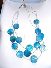 THREE STRAND DYED BLUE MOTHER OF PEARL ROUND PLAQUE SURF STYLE NECKLACE 434-35