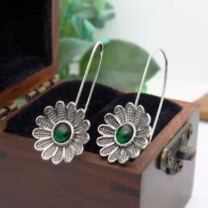 Unusual Flower Dangle Drop Earrings Green Stone Metal Ethnic Vintage Jewellery