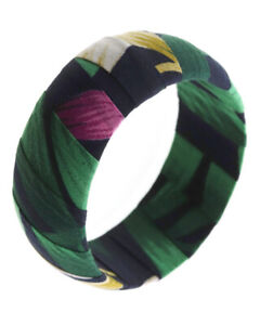 NEW Black & Green Tropical Flowers Leaves Floral Fabric Wrapped Bangle Bracelet