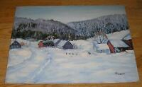 AMERICANA FOLK ART PRIMITIVE HOUSE FARM HOUSE WINTER LANDSCAPE SNOW PAINTING