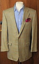 Hickey Freeman Men's Beige Check Silk & Wool Blazer Sport Coat 42L 42 Long