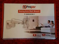 """Proper Swing Arm Wall Mount White P SWB503W-1 for up to 28"""" TVs / Monitors"""