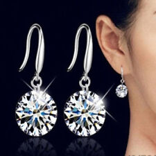 Exquisite 925 Silver Filled 8mm White Zircon CZ Hook Dangle Earrings Bridal Gift