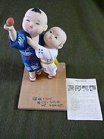Hakata Doll,Couple Admiring Strawberry Japanese Hakata Assoc. Sticker, WITH CARD