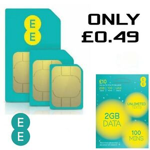EE 4G £10 Pack SIM Card Data Pay As You Go PAYG Nano Micro Standard Triple Cut