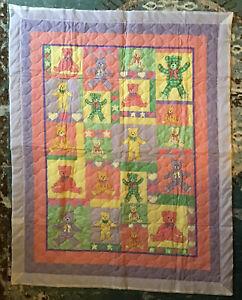 New Teddy Bear Boy Girl Baby Green Purple Yellow Peach Heart 45x35 Inch Quilt