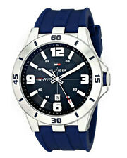 New Tommy Hilfiger Men 1791062 Stainless Steel Watch Blue Silicone Sport Quartz