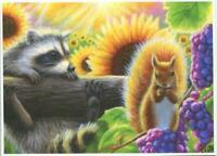 ACEO RACCOON RED SQUIRREL SUNFLOWERS PURPLE GRAPES SUNSHINE BEAMS NATURE PRINT
