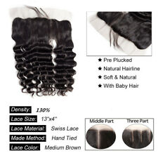 Peruvian  Human Hair 13*4 ear to ear Lace Frontal Hair Closure Loose Deep Wave