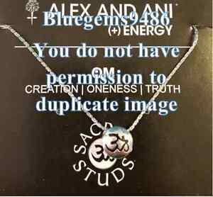 Alex and Ani Sacred Stud Om Necklace Silver Plated - Discontinued/Rare