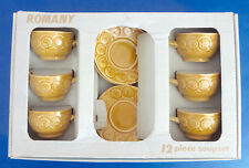 Vintage-Tams-Romany Pattern-Six-Soup Bowls and Saucers-In The Original Box
