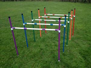 Dog Agility Basic Sliding 5x Jump & 6 Pole Weave Set by Jessejump Agility
