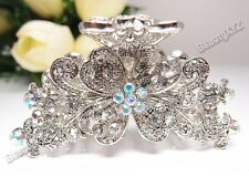 New Silver color Crystal high quality Metal Butterfly Hair Claw Clip Pin 88765