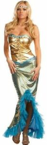 Ladies Mermaid Sexy Fancy Dress Costume Adult Halloween Outfit Sizes 8-16