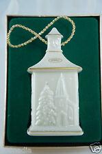 Vintage 1987 Lenox Ivory/Gold Rims China Christmas Ornament Village/House Boxed