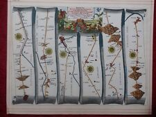 Nottingham To Newark Lincoln Grimsby, Replica 17c OGILBY Old Road Map Book Plate