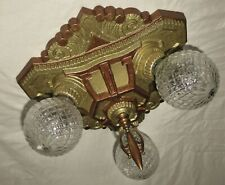 VTG DECO ERA VICTORIAN CAST METAL FLUSH MOUNT CHANDELIER CEILING FIXTURE