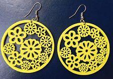 Boho Hippy Gypsy 70s Style Medium Open Hoop Yellow  Flower Wooden Earrings