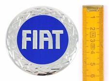 FIAT★ 4 Stück ★ ALUMINIUM Ø60mm BLAU Aufkleber Emblem Felgenaufkleber Radkappen