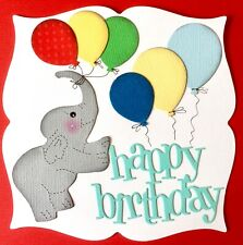 Handmade By Susie Luxury Elephant & Balloons Happy Birthday Card Topper