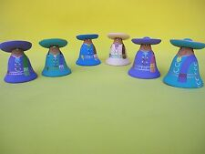 CLAY ORNAMENTS MEXICAN JOYFUL MARIACHI BELLS MEXICAN FOLK ART