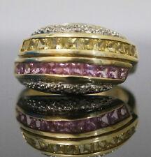 9Carat Yellow Gold Pink Tourmaline Citrine & Diamond Cluster Ring (Size N)