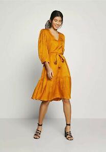 Gestuz Tabby Animal Belted Flared Dress, Gold Orange, Size Medium, RRP £150