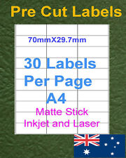 30Labels X 20 sheets A4 Matte Inkjet and laser Label Paper Sticker Adhesive