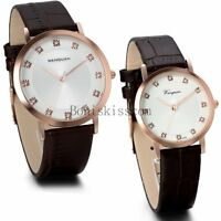 Quartz Analog Wrist Watch Casual Leather Band Men's Womens Couples Dress Watches