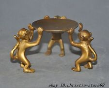 old chinese bronze gilt 3 monkey Lamp stand Candle Holders Candlesticks statue