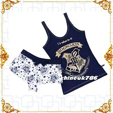 PRIMARK Harry Potter Hogwarts vest short set pjs Womens Summer Fashion Navy UK M