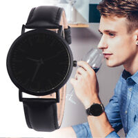 Fashion Men's Watch Stainless Steel Leather Band Strap Wristwach Watches Analog