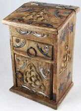 Wooden Carved Triquetra Cupboard Herb Chest Jewelry Box Altar Box Wicca