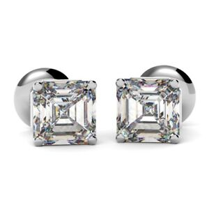 0.70 Carat Asscher Cut Diamond Stud Earrings, UK Hallmarked 18k White Gold