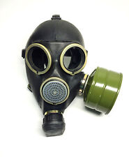 Genuine russian soviet army black gas mask GP-7 size 2 medium with filter 40mm