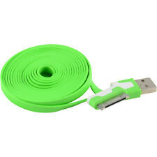2X 6FT/2M Flat USB Data Sync Charger Cable Cord Apple iPhone 4 4S 4G, Green