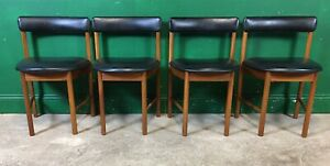 Set Of 4 McIntosh Dining Chairs Black Vinyl Retro. Courier Available