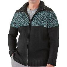 Guide Gear Black Teal Full-Zip Front Sweater Cardigan Jacket Men'S M Medium Nwt