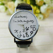Hot Women Leather Watch Whatever I am Late Anyway Letter Watches Black Watch EAS