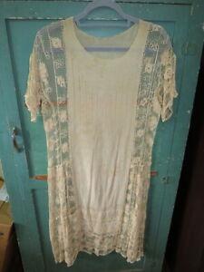 antique flapper dress party wedding gown lace 1930s vintage silk fine sheer
