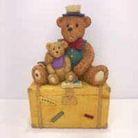 """Teddy Bear On trunk Coin Bank-Male Bear-8 1/2"""" Tall- Piggy Bank"""