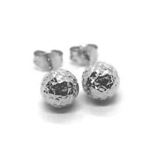 18K WHITE GOLD EARRINGS DIAMOND CUT WORKED FACETED BALLS SPHERES 6mm