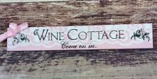 "Wine Cottage Come On In Wood Hanging Plaque Sign 12"" x 2"" x 3/4"" Pink with Black"