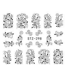 Nail Art Pegatinas Transfers Calcomanías De Agua Flores de estampado de encaje negro (S298)
