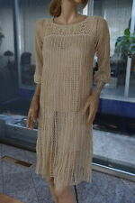 LIM'S 100% COTTON HAND CROCHET MOST COMFORTABLE DRESS 3/4 SLEEVES SIZE S