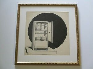 ANTIQUE  PAINTING DRAWING ART DECO ILLUSTRATION VINTAGE TECHNOLOGY AD MODERN