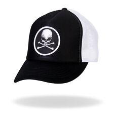 Skull & Crossbones Black & White Trucker Snapback Hat #H1008