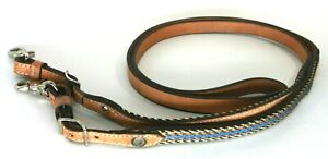 Tex Tan Leather Contest Reins w/Braided Blue Horse Hair and Silver Conchos
